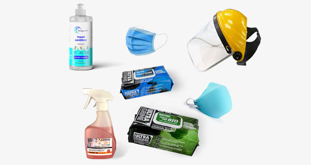 Hand sanitiser, terminal disinfectant, face shield, masks, wipes