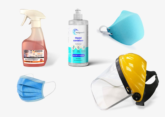 Hand sanitiser, terminal disinfectant, face shield, masks